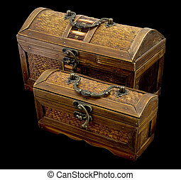 Chest - Two ancient chests with iron handles on a dark...