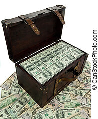 A large chest with dollar banknotes. Financial crisis, crisis, debt.