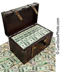 Chest with dollar banknotes. Financial crisis, crisis, debt.