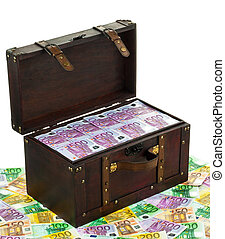 Chest with Euro banknotes. Financial crisis, crisis, debt. -...