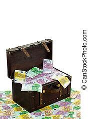 chest with euro banknotes. financial crisis, crisis, debt.