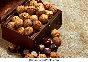chest with walnuts against sacking