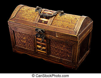Chest - Wooden chest with iron handles on a dark background
