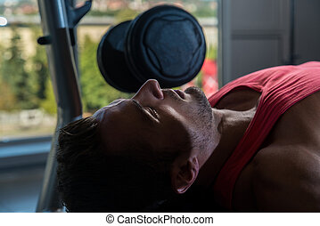 Chest Workout On An Exercise Bench