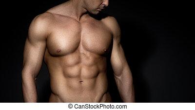 chested, descubierto, hombre del músculo