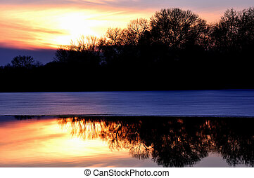 Chester Creek Sunset Christmas Day - Sunset - Christmas Day...