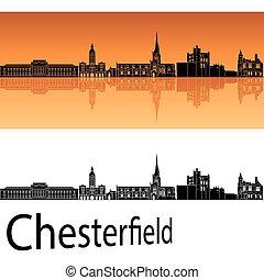 chesterfield, fundo, laranja, skyline