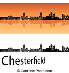 chesterfield, hintergrund, orange, skyline