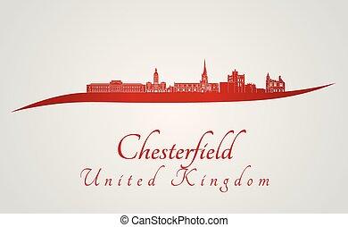 chesterfield, skyline, vermelho