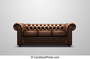 A 3d render of a chesterfield sofa