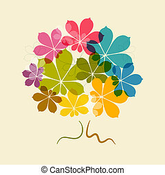 Chestnut Abstract Vector Colorful Tree on Old Paper Background