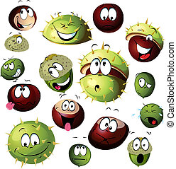 chestnut and acorn cartoon character isolated on white background