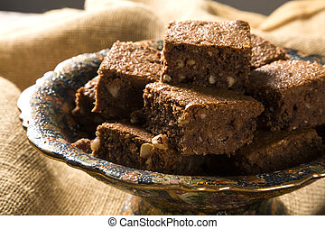 chestnut brownies with chocolate