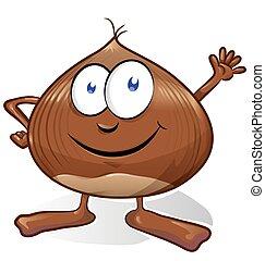 chestnut cartoon isolated on white