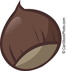 Chestnut - Illustration of a chestnut on white background -...