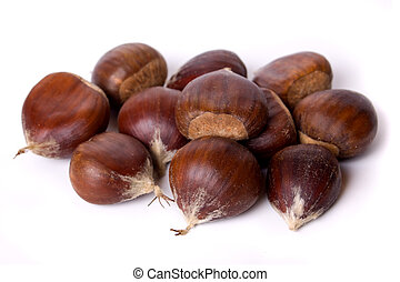 Chestnut fruit isolated on white - Pile of chestnut fruit...