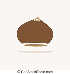 Chestnut. Icon with shadow on a beige background. Autumn vector illustration