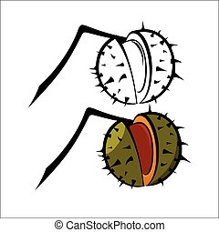 Chestnut - Vector illustration - Chestnut on a white...