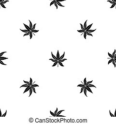Chestnut leaf pattern seamless black