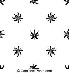 Chestnut leaf pattern seamless black