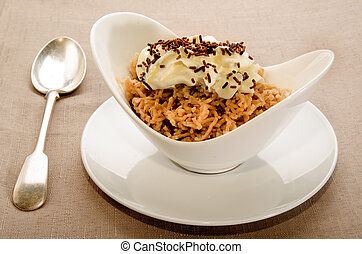chestnut puree with whipped cream and chocolate sprinkles -...