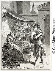 Chestnut seller - Old illustration of a woman selling...