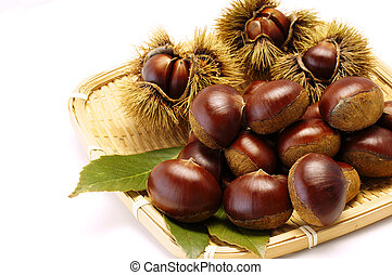 chestnuts on the bamboo colander
