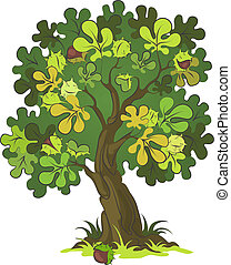 Chestnut tree on white background. Various components are grouped separately