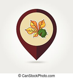 Chestnut with leaf mapping pin icon