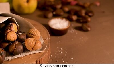 chestnuts, бумага, конус, roasted