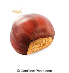 Chestnuts isolated - chestnuts heap isolated on white...