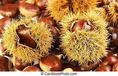 chestnuts, nature background - close up image on chestnuts,...