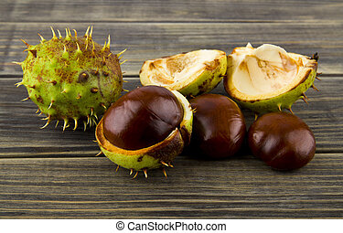 chestnuts on a wooden table