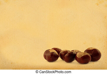 chestnuts on retro background
