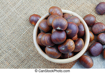 Chestnuts roasted in a bowl.