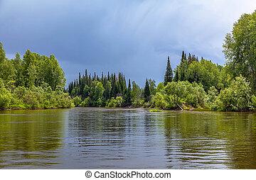 Chet river in the Tomsk region in western Siberia