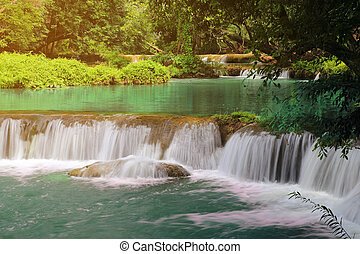 Chet Sao Noi waterfall in the rain forest, at Namtok Chet...