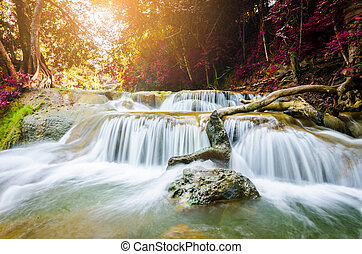 Chet Sao Noi Waterfall, Saraburi, Thailand with sun light.