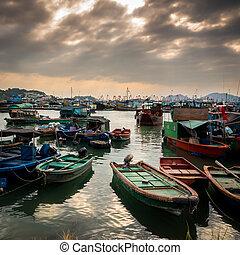 cheung, hong, magisch, onder, uur, chau, vissend dorp, kong