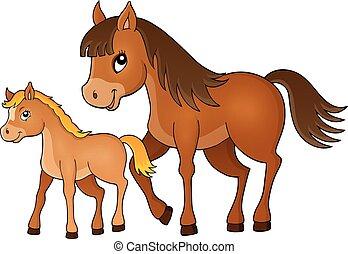 cheval, à, poulain, thème, image, 1