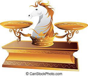 cheval, échelle, peser