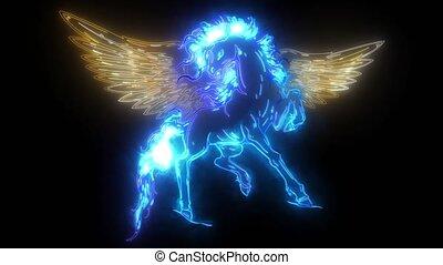 cheval, élevage, mythologique, haut, legs., biche, pégase, sien