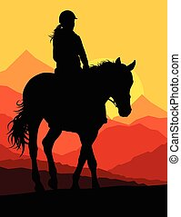 cheval, équestre, campagne, vecteur, fond, sport, cavalier, ...