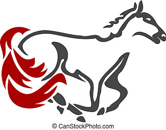cheval, 2, courses, icône