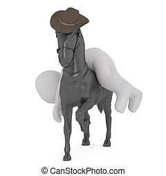 cheval, 3d, homme