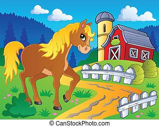 cheval, 5, thème, image