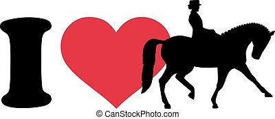 cheval, amour, cavalier, dressage