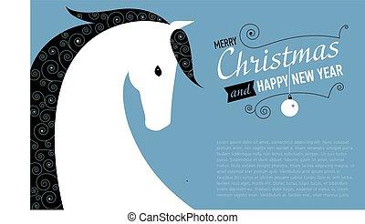 cheval, année, nouveau, noël carte, heureux