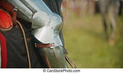 cheval, armure, chevalier, -, étriers, pied, équitation, ...