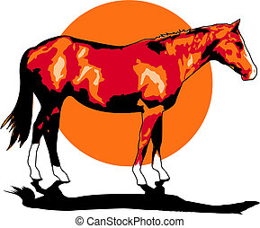 cheval, art, agrafe